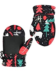 Baby Winter Mittens Warm Fleece Toddler Boys Girls Snow Dinosaur Gloves Waterproof Anti-slip for Kids 1-5 Years