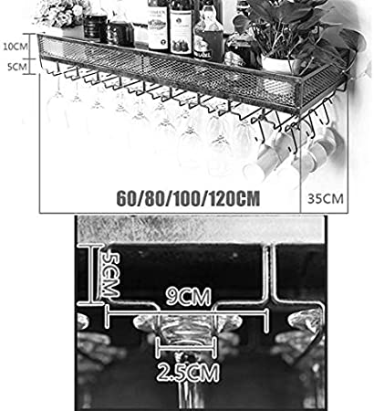 HJXSXHZ366 Estantería de Vino Botellero de Metal for Montaje en Pared, botellero y Colgador de Copa de Vino de Hierro Europeo Estante de Vino pequeño (Color : Black, Size : 60 * 35cm)