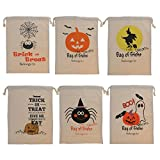 Fenteer 6 Pieces Halloween Pumpkin Witch Party Trick or Treats Drawstring Kid Candy Bags