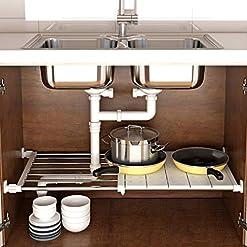 Kitchen Multi-usage Extendable Heavy duty shelf for Under sink Organizer| Cabinet Closet | Kitchen & Bathroom storage | Space… under-sink organizers