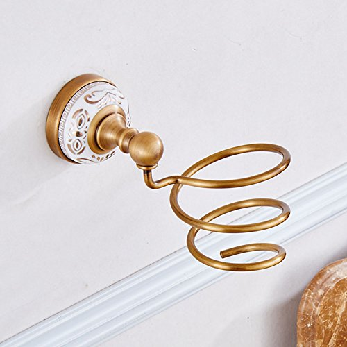 (WINCASE European Antique Vintage Art Solid Brass Spiral Shape Hair Dryer Holder Antique Bronze Brass Gold-Plated Golden Wall Mounted White Porcelain Metal Pendants White Porcelain Bathroom Accessory)