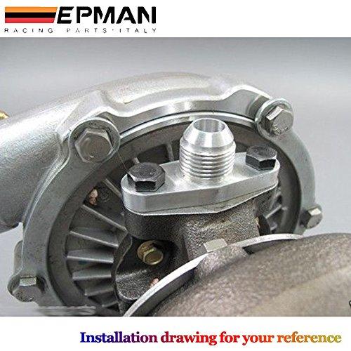 epman CNC de aluminio Billet Turbo aceite alimentación Brida 1/4 pestillo de Garrett para T3/T4R Turbocompresor: Amazon.es: Coche y moto