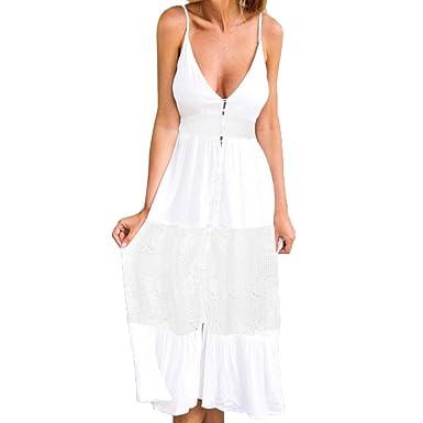 7e4b8a7d9a73 Longra V Ausschnitt Kleid Damen Spitzenkleid Träger Rückenfreies Kleider  Sommerkleider Frauen Boho Long Maxi Kleid Abend
