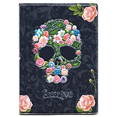 Creative Floral Skull 3D Passport Cover Holder ~ skeleton rose flowers