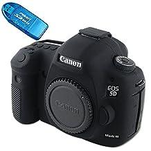 First2savv XJPT-5D3GJ-01G10 black Rubber Camera Case Bag full cover for Canon EOS 5D Mark III . 5D Mk3 . 5DS . 5DSR .5DR + sd reader card