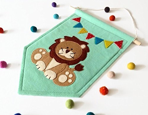 Lion Felt Banner, Nursery Wall Art, Eco Felt Pennant Flag, Kids Room Decor by MagiCuts