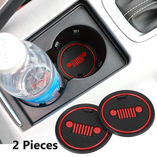 2 Pack 2.75 inch Car Interior Accessories Anti Slip Cup Mat for Jeep Grand Cherokee Wrangler Compass Cherokee Renegade Patriot Grand Comander Decoration,etc All Models (red-Logo)