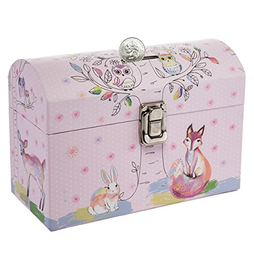 Dg Treasures Tri Coastal Design Kids Piggy Bank Coin Savings Money Bank Toy With Latch For Girls Or Boys
