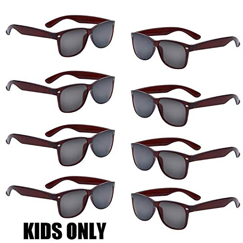 Neon Colors Party Favor Supplies Unisex Sunglasses Pack of 8 for Kids (8 Pack Brown)
