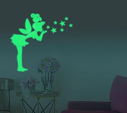 Adesivi Murali Fosforescenti.Extsud Adesivi Murali Fata Stelle Fluorescenti Wall Stickers Luminosi Al Buio Ninfa Angelo Decorazione Casa Camera Da Letto Soggiorno Regalo Ideale
