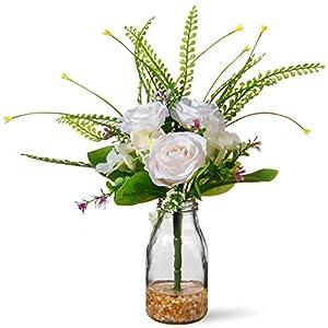 "CC Christmas Decor 12"" Artificial White Rose Flower Arrangement in Glass Vase 95"