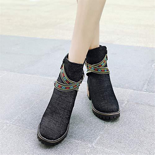 código de Mujer Sandalette de Botas con Botas Altos Gran Tacones y Lado tamaño DEDE black de Mujeres Botas Comodo Gran ZqwZ8X