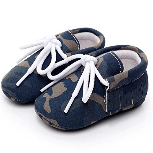 Ouneed® Krabbel schuhe ,Baby Girl Boys Camouflage Frenulum Fashion Schuhe Sneaker Anti-Rutsch Soft Sole Kleinkind Blau