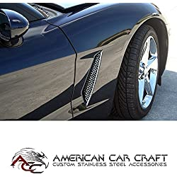 C6 Corvette Side Cove Vent Screen Grilles Polished Stainless Steel Fits: 05 through 13 Base Coupe + Convertible Corvettes (will not fit the GS ZO6 or ZR1 C6 Corvette)