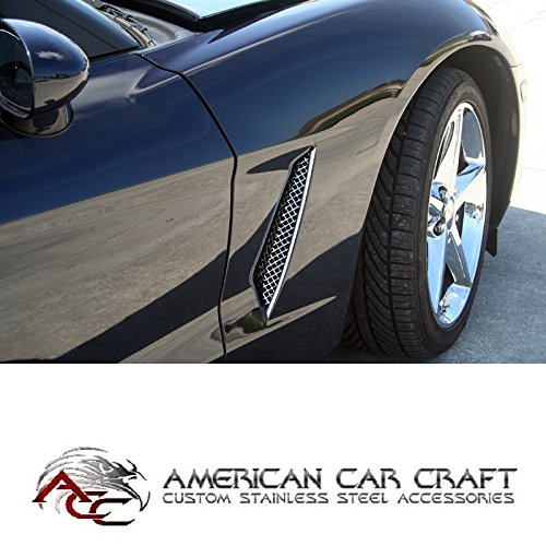 C6 Corvette Side Cove Vent Screen Grilles Polished Stainless Steel Fits: 05 through 13 Base Coupe + Convertible Corvettes (will not fit the GS ZO6 or ZR1 C6 (Stainless Steel Side Vent)