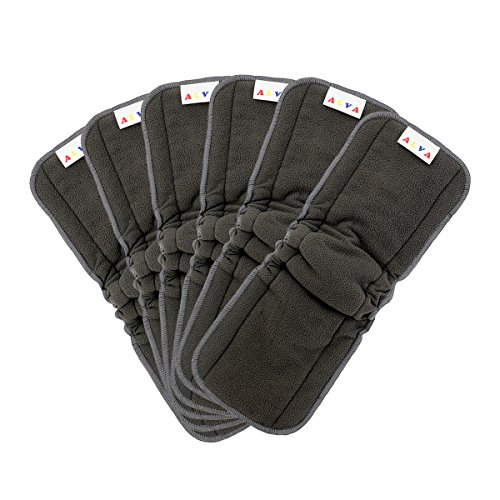 Charcoal Inserts (AlVABABY 5-Layer Bamboo Charcoal Viscose Staple Fiber Inserts/ Reusable Liners for Cloth Diapers with Gussets 6PCS 6FLN)