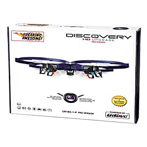 UDI U818A-1-P2 (PRO HD) Discovery 2.4GHz 4 CH 6 Axis Gyro RC Quadcopter with HD Camera (Resolution 1280x720p) + (2) 3.7V 500mAh batteries + 4 GB Micro SD Memory Card! Headless Mode + Return Home