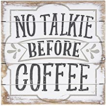 """Sincere Surroundings Perfect Pallet Petites 6"""" x 6"""" Wood Sign, No Talkie Before Coffee"""