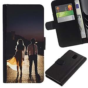 A-type (Dress Fashion Couple Design) Colorida Impresión Funda Cuero Monedero Caja Bolsa Cubierta Caja Piel Card Slots Para Samsung Galaxy Note 3 III