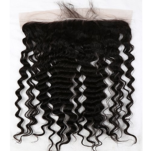 Brazilian Virgin Hair Deep Wave Lace Frontal Closure Ear to Ear Human Hair Frontal 13x4 Free Part with Baby Hair Natural Color 20 inch -  Qingdao Sent Hair Products Co.,Ltd., DW-LFC-F20