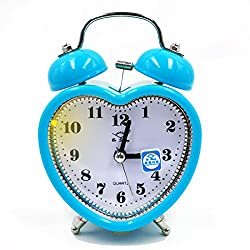 Monique Students 3in Alarm Clock Heart Shaped Silent Analog Alarm Clock with Nightlight Battery Operated Blue