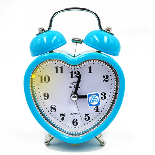 (Monique Students 3in Alarm Clock Heart Shaped Silent Analog Alarm Clock with Nightlight Battery Operated)