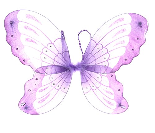 Mozlly 21 inch Purple Glittery Sheer Fabric Butterfly Wings for Children Dress up Accessory - Princess, Fairy