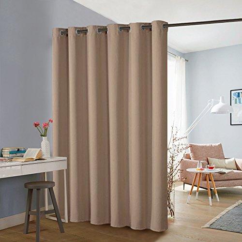 PONY DANCE Blackout Curtain Partition - Privacy Room Divider Hide Clutter Separate Functions Grommet Top Loft Curtains Screen Partition for Sliding Patio Doors, Mocha, W 10 x L 8ft, 1 Panel