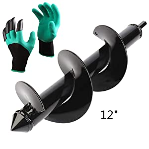 """Auger Drill Bit, LuvisR Garden Plant Flower Bulb Auger 3"""" x 12"""" Rapid Planter with Garden Genie Gloves, Post or Umbrella Hole Digger for 3/8"""" Hex Drive Drill (3"""" x 12"""")"""
