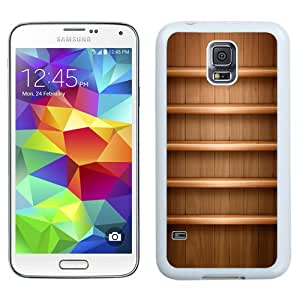 Easy use Cell Phone Case Design with Light Brown Wood Shelves Galaxy S5 Wallpaper in White
