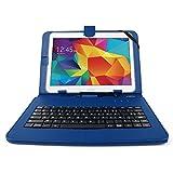 """DURAGADGET Etui bleu et clavier intégré AZERTY (français) pour tablettes Samsung Galaxy Tab 4 10.1"""" SM-T530 et SM-T533 (Wi-FI 2015) aspect cuir + stylet tactile BONUS - Garantie 2 ans"""