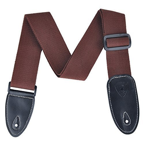 Polyester Cotton Guitar Strap Adjustable Woven Pattern 4 Colors (Coffee)
