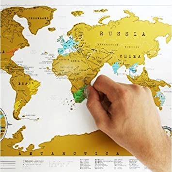 Travel world scratch map amazon kitchen home travel world scratch map publicscrutiny Image collections