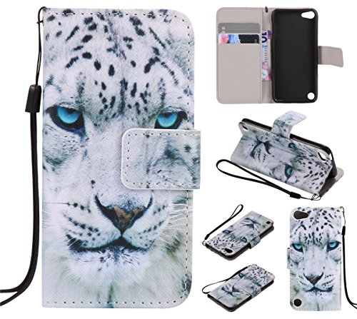 Leopard Ipod Case (iPod Touch 6 Case, iPod Touch 5 Case, Love Sound [Leopard] [Wrist Strap] [Stand Function] Luxury PU Leather Wallet Case Flip Cover Built-in Card Slots for Apple iPod Touch 5 6th Generation)