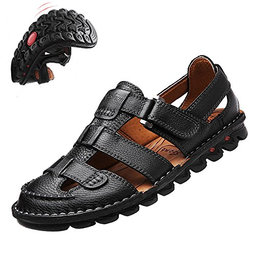 cfb06a7c6bf9 JIONS Men s Closed Toe Leather Fisherman Sandals Casual Outdoor Adjustable  Strap Summer Shoes high-quality