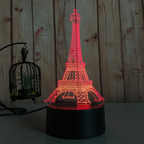 Novelty Wares USB Powered 7 Colors Amazing Optical Illusion 3D Glow LED Lamp Art Sculpture Lights Produces Unique Lighting Effects and 3D Visualization for Home Decor … (Eiffel Tower)