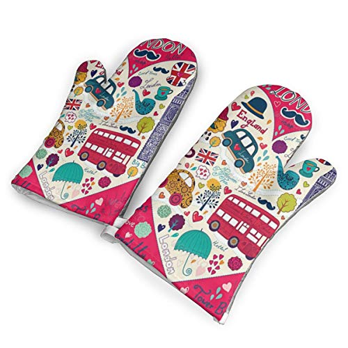 London Bus Heat Resistant to 500?? F,1 Pair of Non-Slip Kitchen Oven Gloves for Cooking,Baking,Grilling,Barbecue Potholders Oven Mitts Set]()