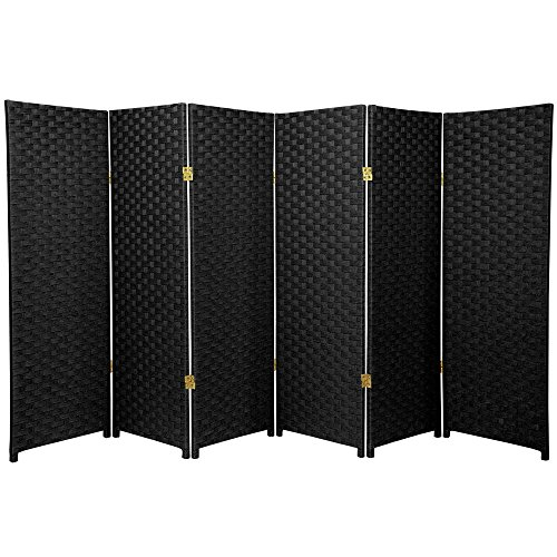 ORIENTAL FURNITURE 4 ft. Tall Woven Fiber Room Divider - Black - 6 Panel