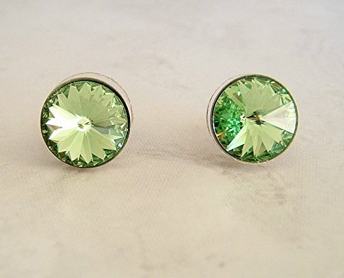 - Green 11mm Round Crystal Stud Earrings Simulated Peridot August Birthstone Gift Idea SS