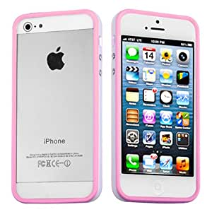 MYBAT Pink/Solid White MyBumper Phone Protector Cover for APPLE iPhone 5