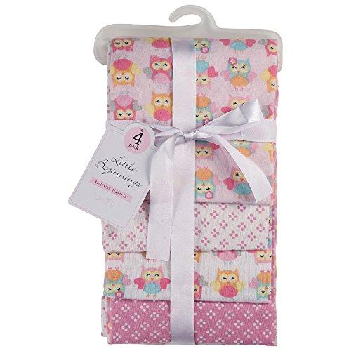 Little Beginnings 4 Pack Laddered Receiving Blanket, Owls Print