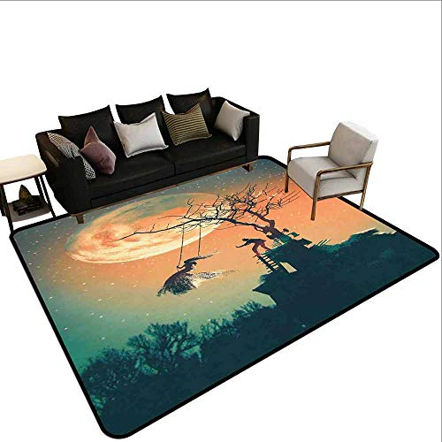 Carpet Protection mat Fantasy World,Spooky Night Zombie Bride and Groom Lady on Swing Under Starry Sky Full Moon,Orange Teal