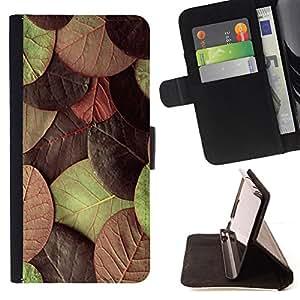 - autumn leaves green maroon/ Personalizada del estilo del dise???¡¯???¡Ào de la PU Caso de encargo del cuero del tir???¡¯????n del s - Cao - For Samsung