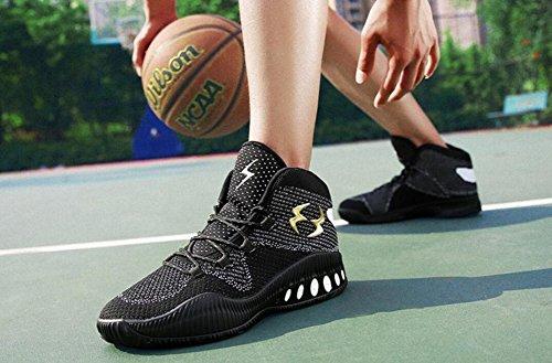 Chaussures De Basket-ball De Performance De Jiye Hommes Tissant Des Baskets Respirantes De Mode Par Noir