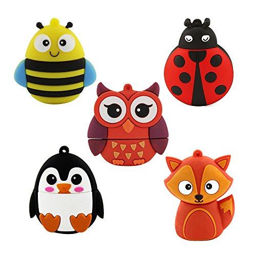 Usbkingdom 5 Pack 32GB USB 2.0 Bulk Flash Drives Cute Animal Shape Pen Drive Thumb Drive Memory Stick Jump Drive (Owl,Bee,Ladybug,Penguin,Fox,5PCS)