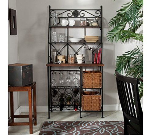 Metal Bakers Rack with Wine Storage, Wine Glass Storage and 2 Pull-out Storage Baskets