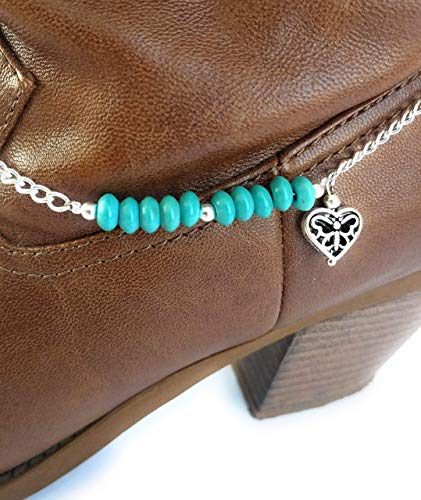 Turquoise Heart Boot Bracelet Chain Adj 15 Inch (Cowboy Boot Bracelet)