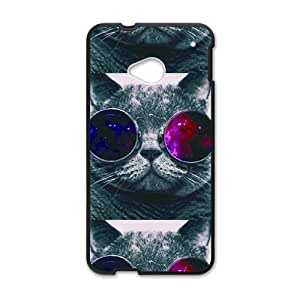 Happy Colorful glasses cat Cell Phone Case for HTC One M7