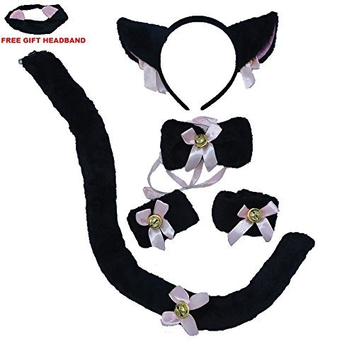 Halloween Party Ideas For Teenagers (BOMPOW Cat Tail Cosplay Set Cat Headband Ears Bow Tie Costume for Halloween Party Decor 6 Pack)
