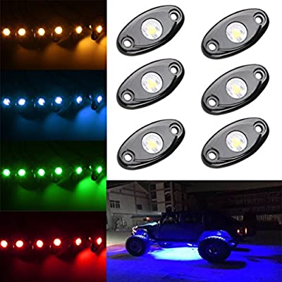 LED Rock Light Kits with 6 pods Lights for Off Road Truck Car ATV SUV (Red): Automotive